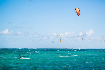 Photo for Kitesurfers on the Le Morne beach in Mauritius - Royalty Free Image