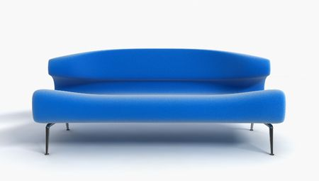 3D rendering of the blue sofa