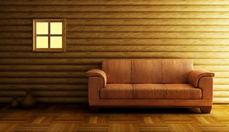 modern couch beside log wall
