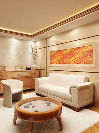 3d rendering of the lounge room in yacht style