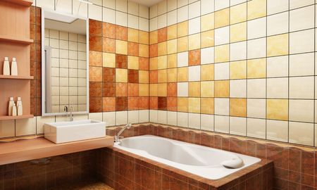 3d rendering of the modern bathroom with tiles