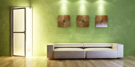 the modern couch beside the wall with green stucco