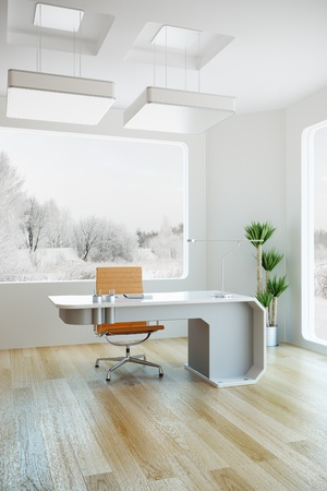 interior design of modern office, 3d render