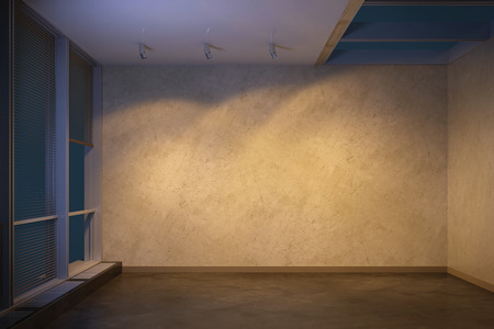 Photo for empty room at evening, 3d rendering - Royalty Free Image