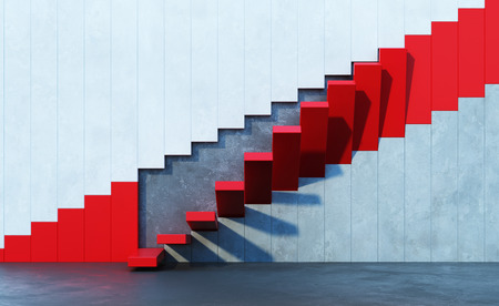 red stairs leading upward, architectural composition