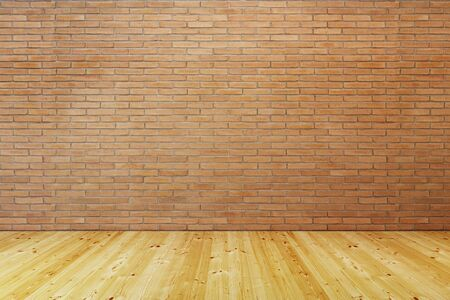 Photo pour empty room with brick wall and wooden floor, 3d rendering - image libre de droit