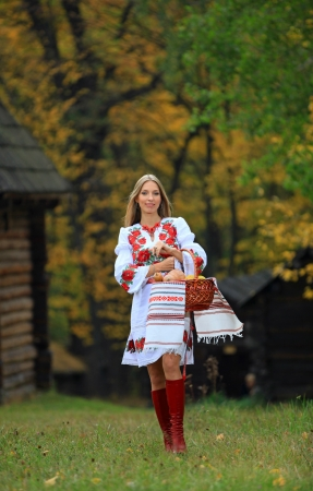 Beautiful young woman in Ukrainian costume