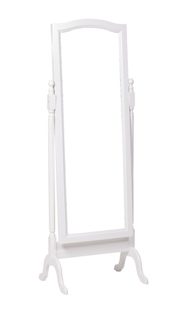 Full length dressing mirror on stand  Folding free-standing mirror isolated over white  With clipping path