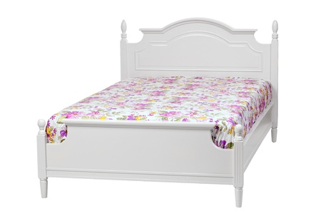 Modern double bed with cotton sheet   With clipping path