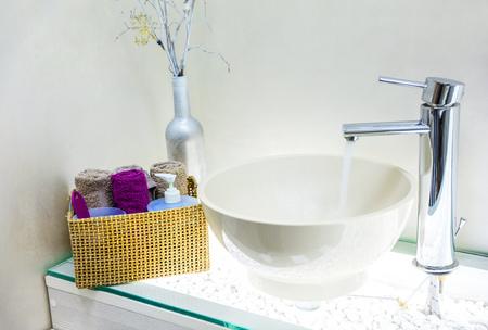 Closeup of wash basin in modern bathroom interior