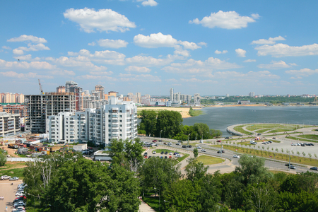 City on river coast. Kazan, Russia