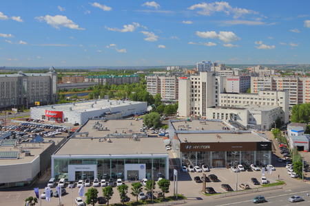 Kazan, Tatarstan, Russia - Jun 21, 2018: Motor shows and city