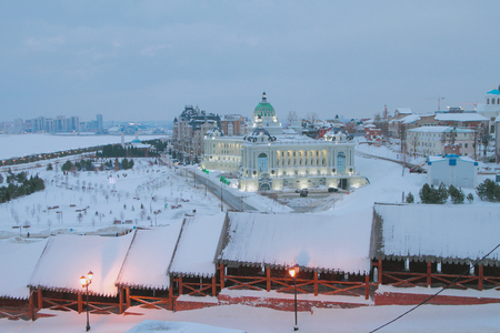 Northeast wall of the Kremlin and the Palace of the farmers. Kazan, Russia