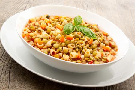 Foto de original pasta and lentil soup - Imagen libre de derechos