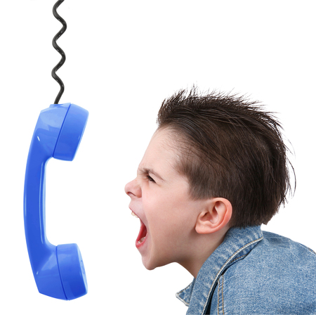 young boy in anger with blue phone