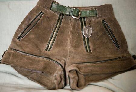 Leather shorts with H-shaped suspenders, traditionally worn by men and boys in Germany.