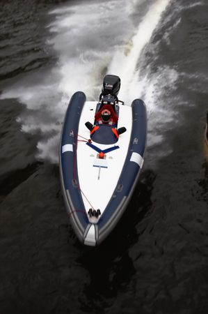 Racing boat on a bend
