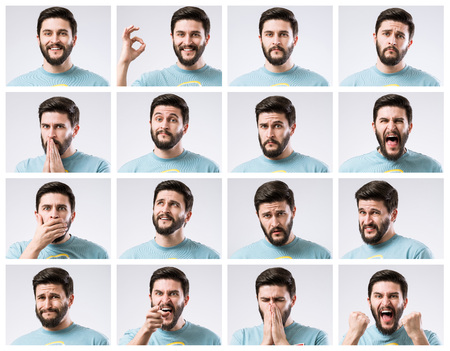 Emotions faces set of handsome bearded guy