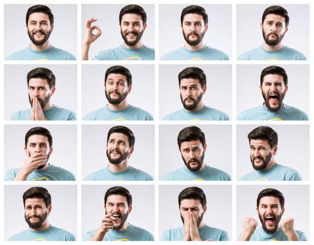 Photo pour Emotions faces set of handsome bearded guy - image libre de droit