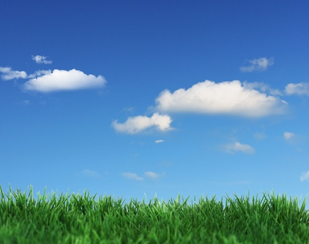 Green field and blue clouds