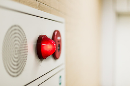 Photo for emergency light wall panel and alarm speaker sound in the office building. - Royalty Free Image