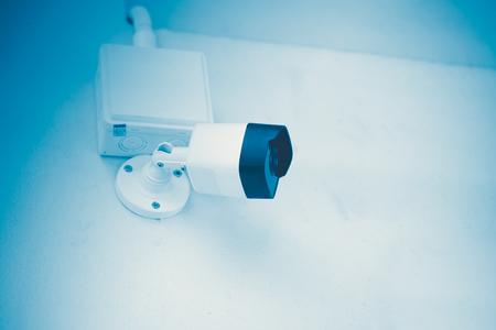 Surveillance CCTV security camera blue tech color tone