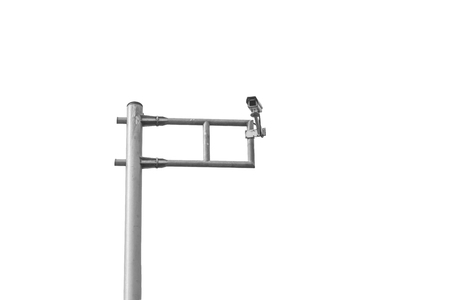 traffic police surveillance CCTV security camera pole isolated on white