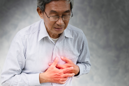 Photo pour Senior stroke heart attack painful at chest Angina syndrome. - image libre de droit