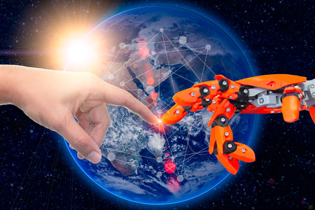 Foto de robotic engineering connected to people for future around the world concept. Elements of this image furnished by NASA. - Imagen libre de derechos