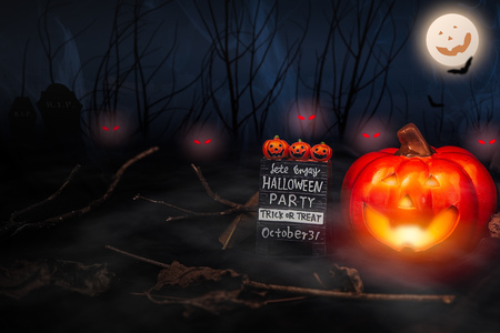 Photo for helloween nightmare trick or treat party  ghost pumpkin - Royalty Free Image