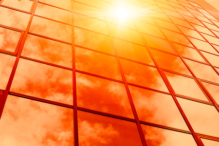 Photo for hot weather summer season sunny reflect on glass windows building - Royalty Free Image