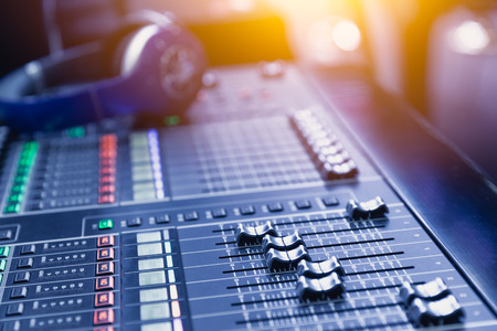 Photo for Music mixer sound recording engineer control desk for dj at stage show. - Royalty Free Image