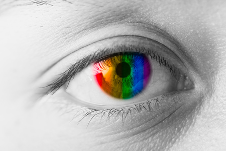 Photo for Colors Eyes Vision concept, LGBT rainbow colorful pupil closeup macro - Royalty Free Image
