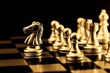 Photo pour Gold Chess. Elite Business Team Leader golden color feeling luxury rich gorgeous image. - image libre de droit