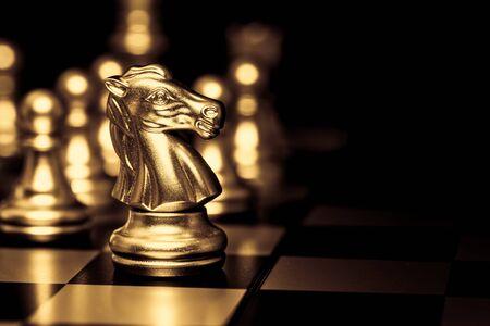 Photo pour Gold luxury Elegant Chess horse piece with black space for text. Successful Business leader concept. - image libre de droit