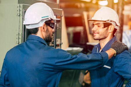 Foto für engineer supervisor admired and proud his worker team, working good more efficiently. - Lizenzfreies Bild