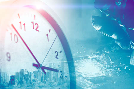 Photo pour Industry worker overlay with Times clock for business working hours in factory image concept. - image libre de droit