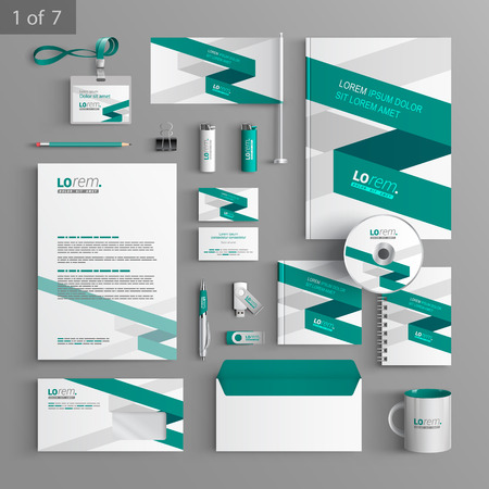 Ilustración de White corporate identity template design with green stripe. Business stationery - Imagen libre de derechos