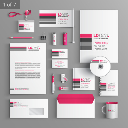 Foto de White corporate identity template design with pink and gray lines. Business stationery - Imagen libre de derechos