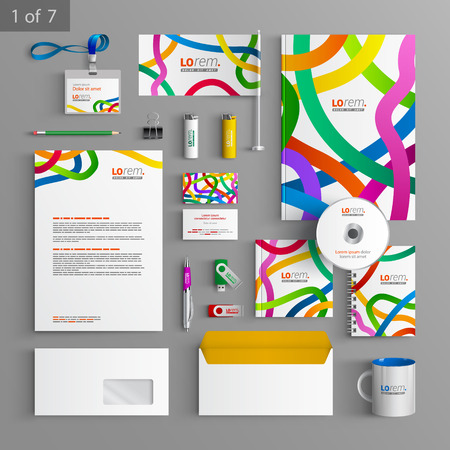 White stationery template design with color tape. Documentation for business.