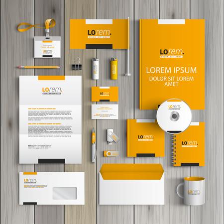 Foto de Yellow classic corporate identity template design with black and white square elements. Business stationery - Imagen libre de derechos
