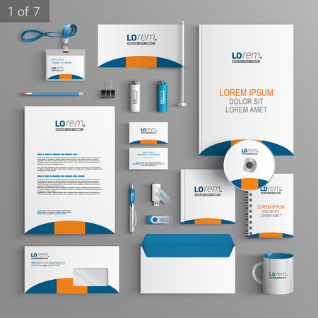 Classic white stationery template design with blue and orange round shape. Documentation for business.