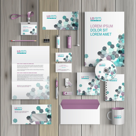 Foto de White corporate identity template design with gray and green geometric elements. Business stationery - Imagen libre de derechos