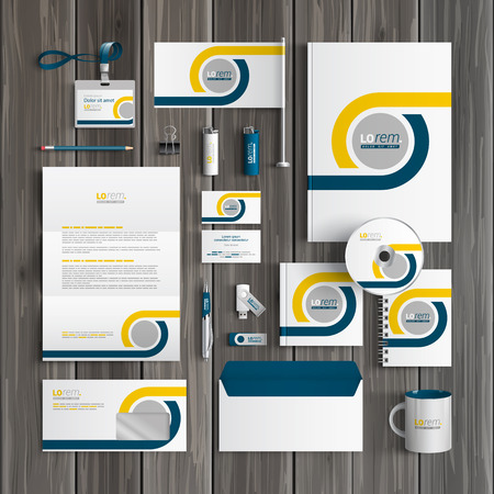 Foto de White classic corporate identity template design with blue and yellow geometric elements. Business stationery - Imagen libre de derechos