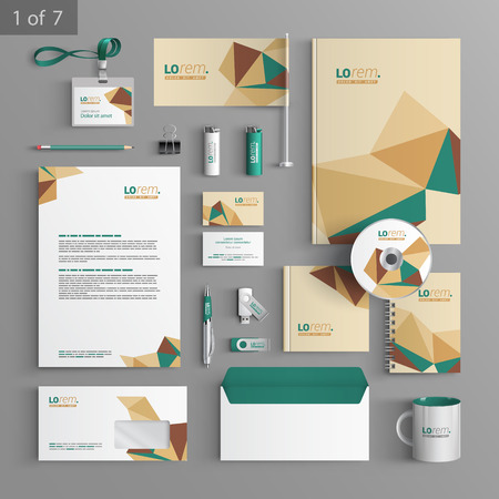 Vector stationery template design with origami elements. Documentation for business.