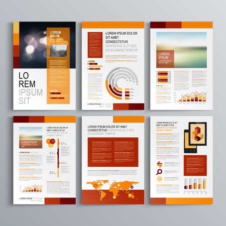 Red brochure template design with orange vertical shapes. Cover layout and infographics