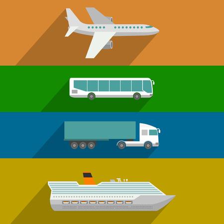 Foto de Global transportation. Plane, cruise liner, bus and truck icons. Flat design illustration - Imagen libre de derechos