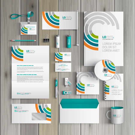 Ilustración de White corporate identity template design with round color elements. Business stationery - Imagen libre de derechos