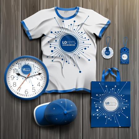Foto de Blue digital promotional souvenirs design for corporate identity with optical fiber elements. Stationery set - Imagen libre de derechos