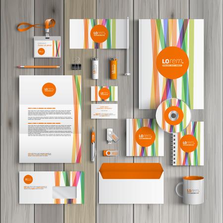 Foto de White corporate identity template design with color lines and orange shape. Business stationery - Imagen libre de derechos